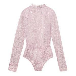 Victoria's Secret Tops - VICTORIA'S SECRET PINK SILVER LACE BODYSUIT SZ L